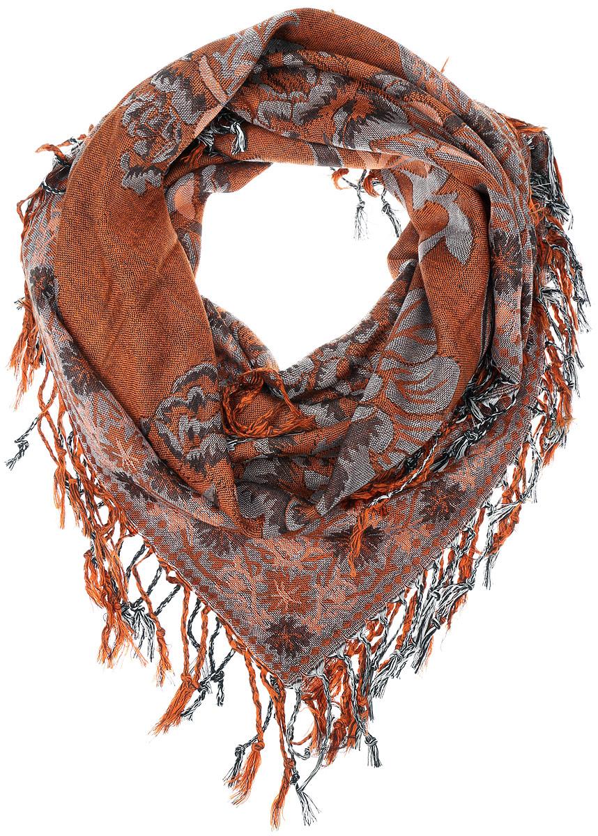 ПлатокF535-1/Теплый женский платок Vittorio Richi изготовлен из сочетания теплой шерсти и высококачественного акрила. Жаккардовый платок оформлен цветочным дизайном и дополнен по краям стильной бахромой.