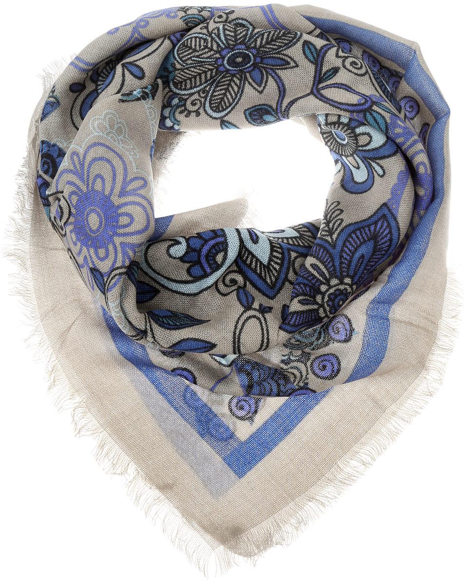 SH1502-R17-1Теплый женский платок Vittorio Richi изготовлен из сочетания теплой шерсти и высококачественного акрила. Платок оформлен цветочным дизайном и дополнен по краям стильной бахромой.