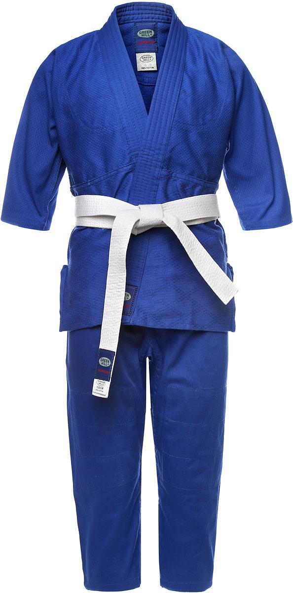 Кимоно для дзюдоJSJ-10227Кимоно детское для дзюдо Green Hill Junior состоит из рубашки, брюк и пояса. Просторная рубашка с глубоким запахом, с боковыми разрезами и рукавом три четверти. Рубашка усилена двойными швами на плечах, рукавах и груди. На плечах имеется пространство для нашивки национального флага страны. Логотип Green Hill нашит на поясе, нижней части куртки и верхней части рукавов. Просторные брюки на широком поясе со шнурком для фиксации брюк на талии. Длинный плотный пояс укреплен многорядной прострочкой. Комплект изготовлен из натурального хлопка, плотностью 350 г/м2. Уважаемые клиенты! Обращаем ваше внимание на возможные изменения в цветовом дизайне пояса, связанные с ассортиментом продукции. Поставка осуществляется в зависимости от наличия на складе.