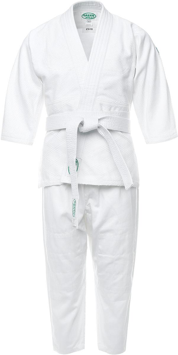 Кимоно для дзюдоP1020_детскоеКимоно детское для дзюдо Green Hill Club состоит из рубашки, брюк и пояса. Просторная рубашка с глубоким запахом, с боковыми разрезами и рукавом три четверти. Боковые швы и края полочек укреплены дополнительными строчками. Просторные брюки особого покроя на широком поясе и шнурком для фиксации брюк на талии. Длинный плотный пояс укреплен многорядной прострочкой. Комплект изготовлен из натурального хлопка, плотностью 500 г/м2. Кимоно рекомендуется для тренировок в зале.