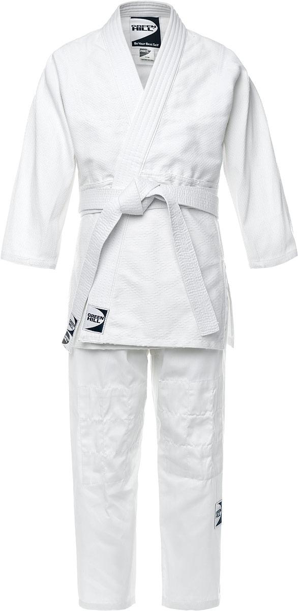 Кимоно для дзюдоP1020Кимоно для дзюдо Green Hill Club состоит из рубашки, брюк и пояса. Просторная рубашка с глубоким запахом, с боковыми разрезами и рукавом три четверти завязывается специальными завязками. Модель усилена двойными швами на плечах, руках и груди. Просторные брюки на широком поясе и шнурком для фиксации брюк на талии. Длинный плотный пояс укреплен многорядной прострочкой. Комплект изготовлен из натурального хлопка плотностью 500 гр/м2.