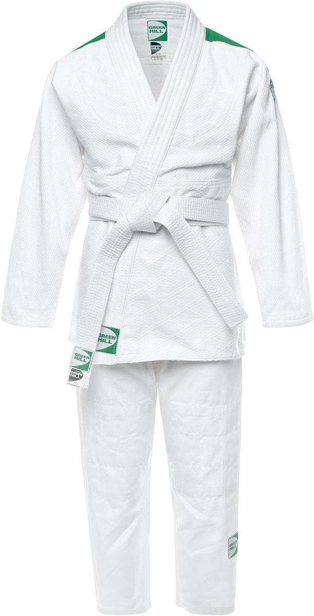 Кимоно для дзюдоJSC-10395_детскоеКимоно детское для дзюдо Green Hill Club состоит из рубашки, брюк и пояса. Просторная рубашка с глубоким запахом, с боковыми разрезами и длинными рукавами. Боковые швы и края полочек укреплены дополнительными строчками. Просторные брюки особого покроя на широком поясе со шнурком для фиксации брюк на талии. Длинный плотный пояс укреплен многорядной прострочкой. Комплект изготовлен из натурального хлопка, плотностью 950 г/м2. Изделие дополнено контрастными вставками с названием бренда. Кимоно рекомендуется для тренировок в зале.