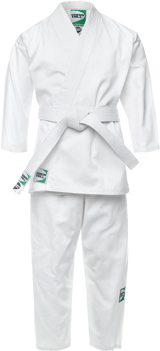 P1002_детскоеКимоно для карате Green Hill Club состоит из рубашки, брюк и пояса. Просторная рубашка с глубоким запахом, с боковыми разрезами завязывается специальными завязками. Боковые швы и края укреплены дополнительными строчками. Просторные брюки на широком поясе и шнурком для фиксации брюк на талии. Длинный плотный пояс укреплен многорядной прострочкой. Комплект изготовлен из натурального хлопка. Кимоно рекомендуется для тренировок в зале.