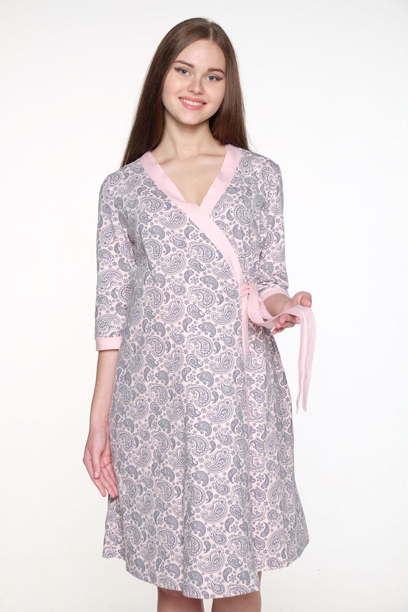 Комплект одежды1-НМК 08520Уютный, нежный комплект состоит из халата и ночной сорочки. Халат на запах с широким поясом и рукавом 3/4, сорочка с секретом для кормления.