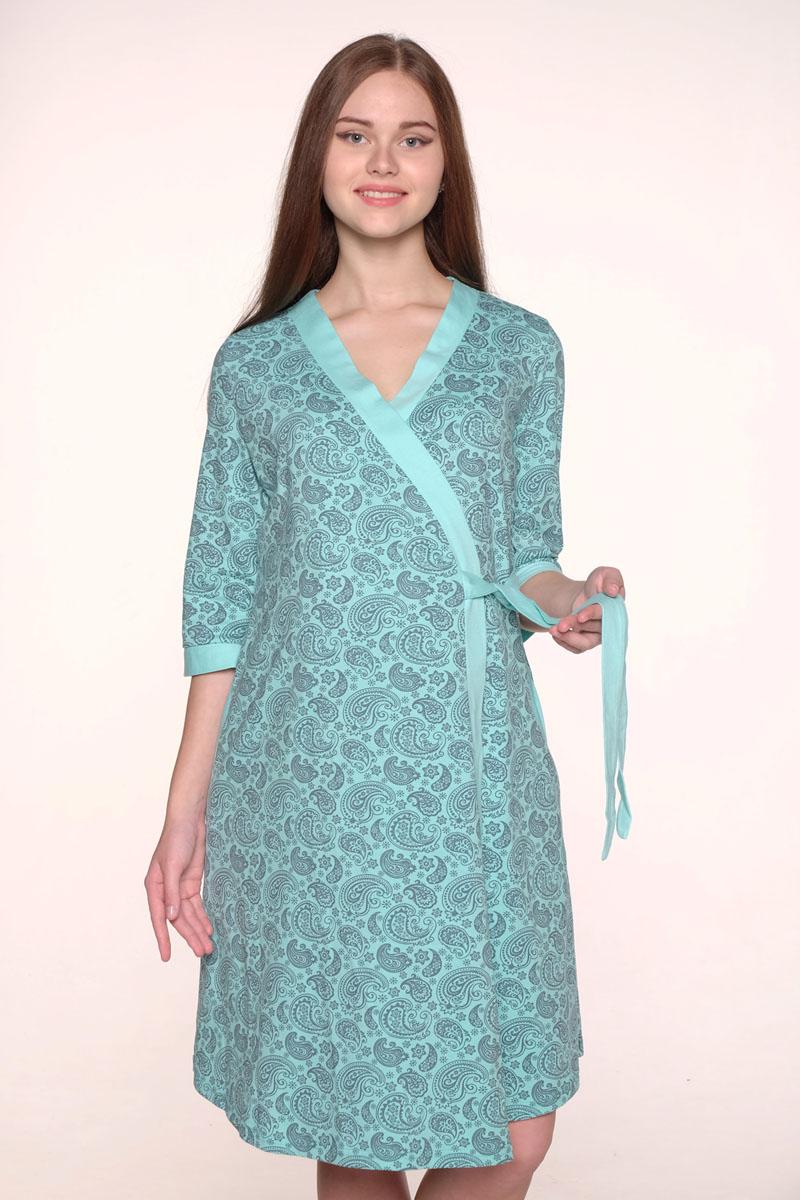 1-НМК 08520Уютный, нежный комплект состоит из халата и ночной сорочки. Халат на запах с широким поясом и рукавом 3/4, сорочка с секретом для кормления.
