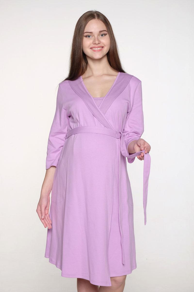 Комплект одежды2-НМК 08621Уютный домашний комплект для беременных и кормящих выполнен из хлопкового трикотажного полотна. Халат на запах. Сорочка на бретелях с клипсами для кормления малыша.