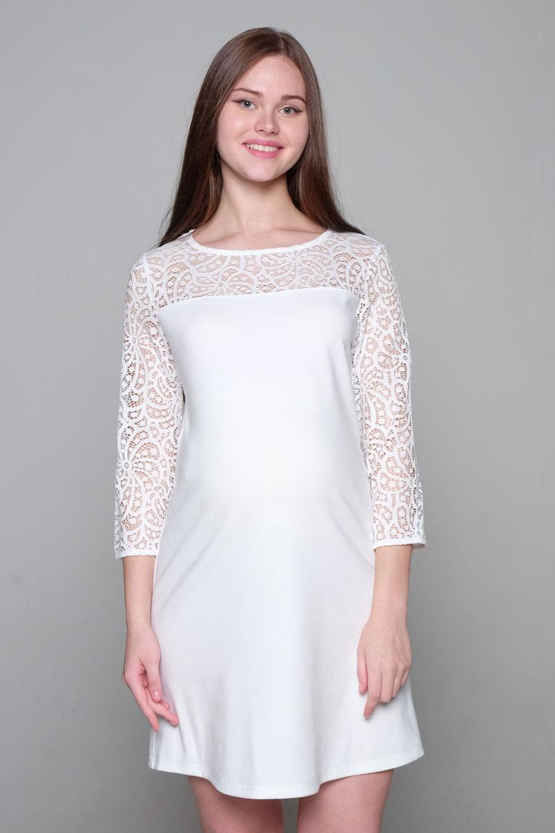Платье2-НМ 33311Платье для будущих мама. Удобный крой для растущего животика, круглый ворот, верх платья и рукава выполнены из кружева, рукав 3/4.