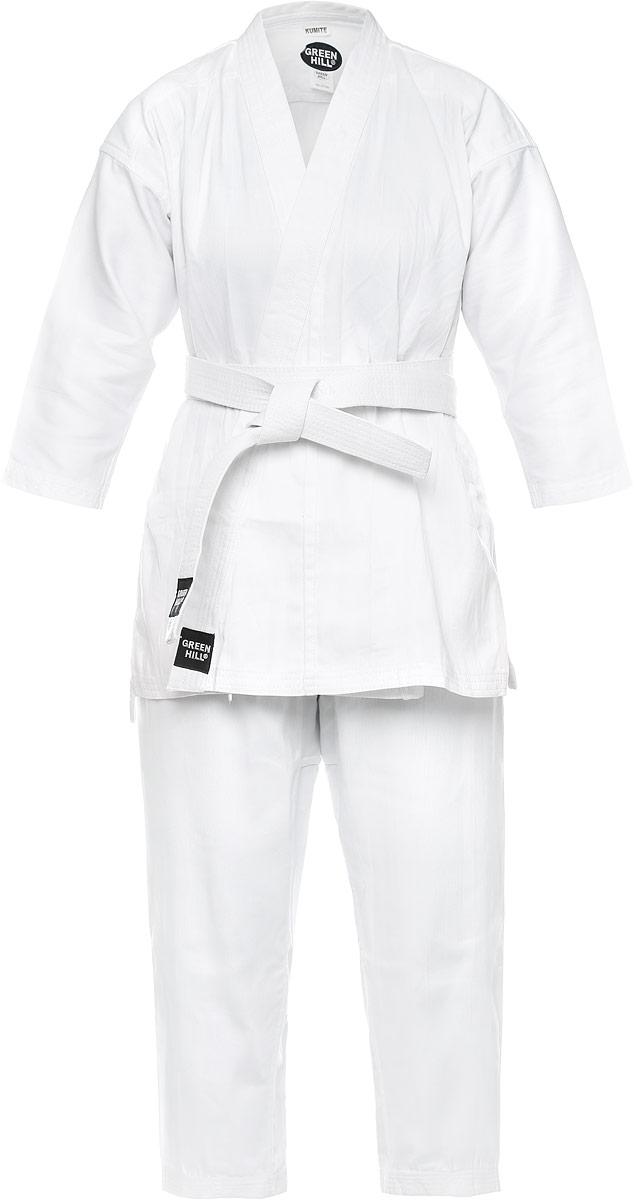 KSM-3002014Кимоно для карате Green Hill Kumite состоит из рубашки, брюк и пояса. Просторная рубашка с глубоким запахом, с боковыми разрезами и рукавом три четверти завязывается специальными завязками. Боковые швы и края полочек укреплены дополнительными строчками. Просторные брюки особого покроя на широком поясе и шнурком для фиксации брюк на талии. Длинный плотный пояс укреплен многорядной прострочкой. Комплект изготовлен из натурального хлопка, плотностью 230 г/м2.