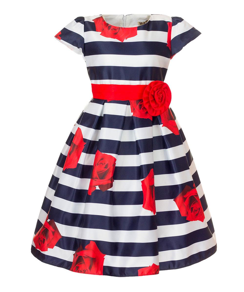 ПлатьеNWD27002-29Очаровательное платье M&D идеально подойдет вашей дочурке. Изделие выполнено из полиэстера с добавлением модала и хлопка. Модель с короткими рукавами фонариками и круглым вырезом горловины застегивается на скрытую застежку-молнию, расположенную на спинке. Модель на поясе дополнена завязками. Хлопковая подкладка дополнена нашивками из органзы, которые придают платью пышность. Платье оформлено цветочным принтом и принтом в полоску, на поясе - съемным декоративным элементом в виде цветка.