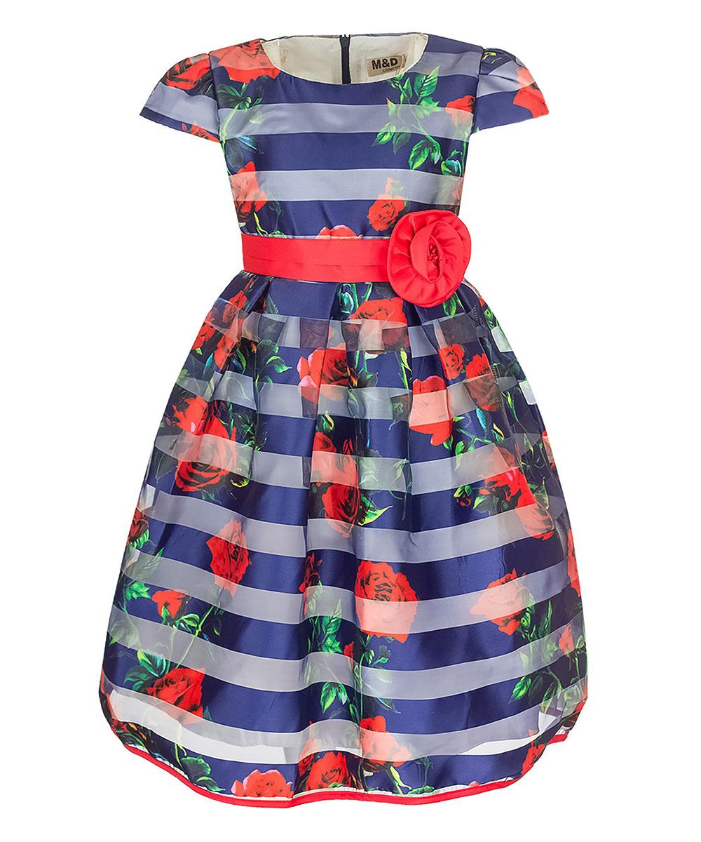 ПлатьеNWD27001-29Очаровательное платье M&D идеально подойдет вашей дочурке. Изделие выполнено из полиэстера с добавлением модала и хлопка. Модель с короткими рукавами фонариками и круглым вырезом горловины застегивается на скрытую застежку-молнию, расположенную на спинке. Модель на поясе дополнена завязками. Хлопковая подкладка дополнена нашивками из органзы, которые придают платью пышность. Платье оформлено цветочным принтом и принтом в полоску, на поясе - съемным декоративным элементом в виде цветка. Низ изделия дополнен контрастной бейкой.