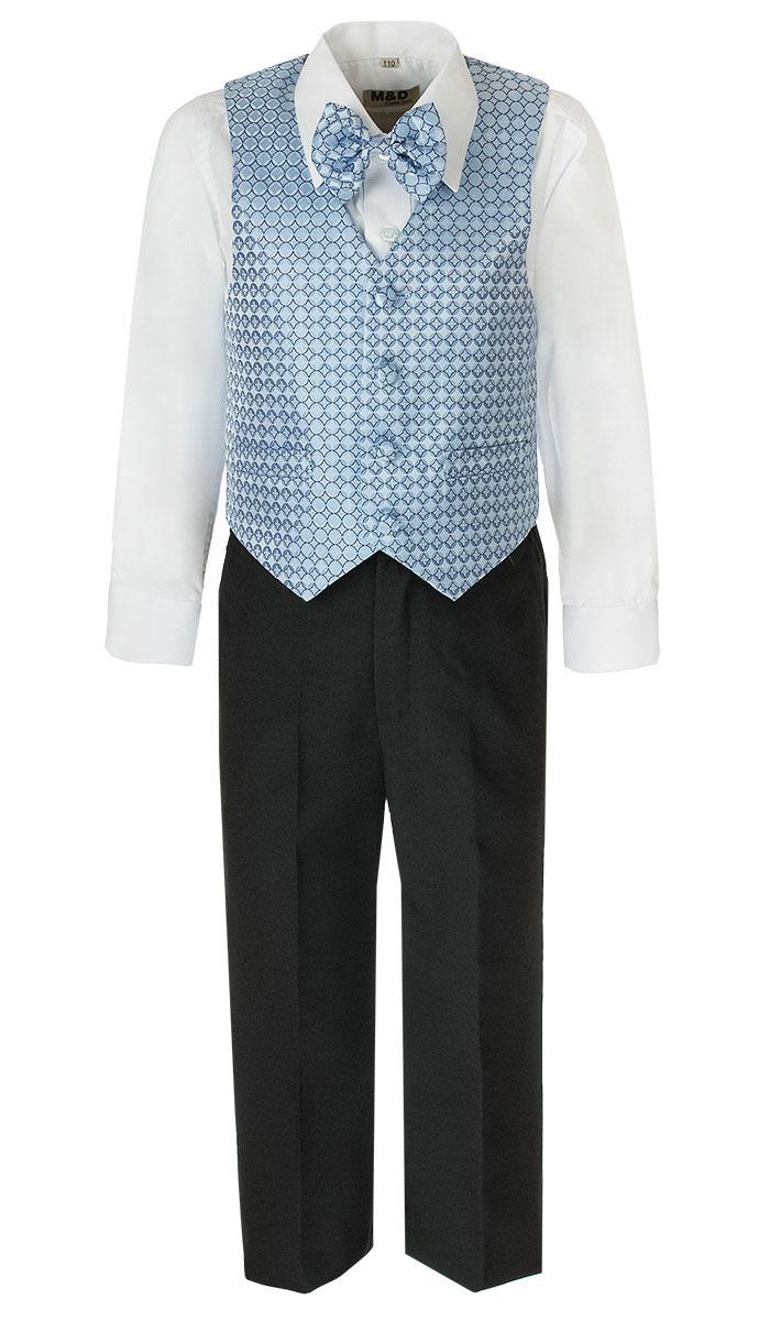 HWI170071-10Костюм для мальчика M&D изготовлен из полиэстера с добавлением модала и хлопка. Костюм включает в себя рубашку, брюки, жилет и галстук-бабочку. Рубашка с отложным воротником и длинными рукавами застегивается на пуговицы. Манжеты рукавов оснащены застежками-пуговицами. На груди расположен накладной карман. Брюки классического кроя и стандартной посадки застегиваются на пуговицу в поясе и ширинку на застежке-молнии. На поясе имеются шлевки для ремня. Пояс по бокам присборен на резинки. Брюки дополнены втачными карманами. Жилет с V-образным вырезом горловины застегивается на пуговицы. Спереди расположены два прорезных кармана. Галстук-бабочка оснащен эластичной резинкой. Жилет и галстук-бабочка оформлены оригинальным принтом.