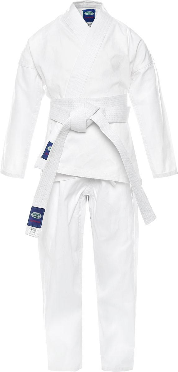 Кимоно для каратеKSJ-10054Кимоно для карате Green Hill Junior состоит из рубашки, брюк и пояса. Просторная рубашка с глубоким запахом, с боковыми разрезами завязывается специальными завязками. Боковые швы и края полочек укреплены дополнительными строчками. Просторные брюки на широком поясе со шнурком для фиксации брюк на талии. Длинный плотный пояс укреплен многорядной прострочкой. Комплект изготовлен из натурального хлопка, плотностью 180 г/м2.