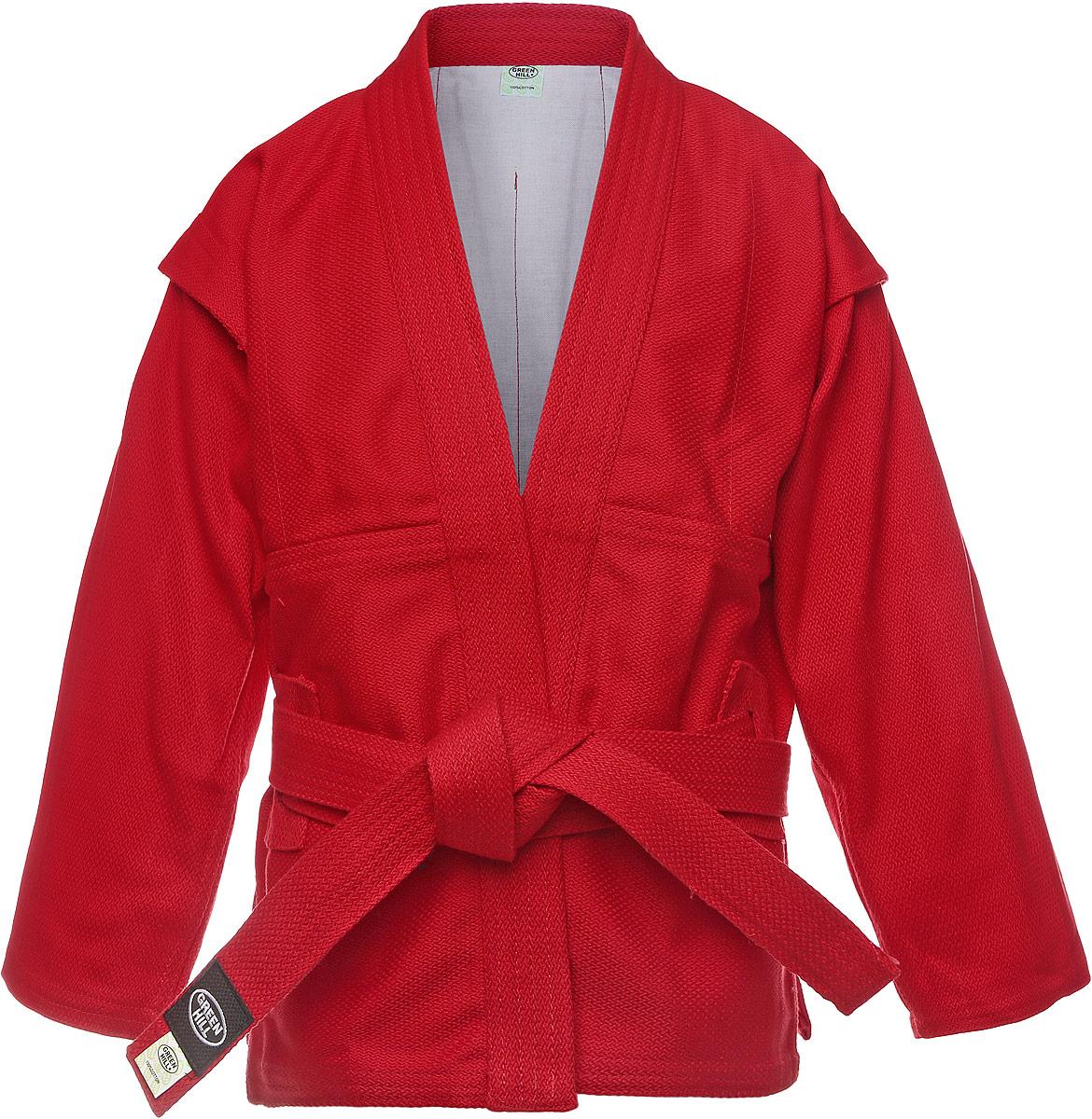 Кимоно для самбоSC-2002Куртка для занятий самбо Green Hill выполнена из 100% хлопка. Просторная куртка с глубоким запахом и боковыми разрезами. Модель дополнена плотным поясом с многорядной прострочкой. Боковые швы и края укреплены дополнительными строчками.