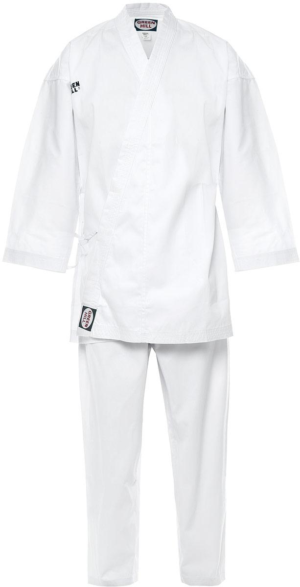 Кимоно для каратеKSO-10024Кимоно для карате Green Hill Olimpic состоит из рубашки, брюк и пояса. Просторная рубашка с глубоким запахом, с боковыми разрезами и рукавом три четверти завязывается специальными завязками. Боковые швы и края полочек укреплены дополнительными строчками. Просторные брюки особого покроя на широком поясе со шнурком для фиксации брюк на талии. Длинный плотный пояс укреплен многорядной прострочкой. Комплект изготовлен из хлопка с добавлением полиэстера.
