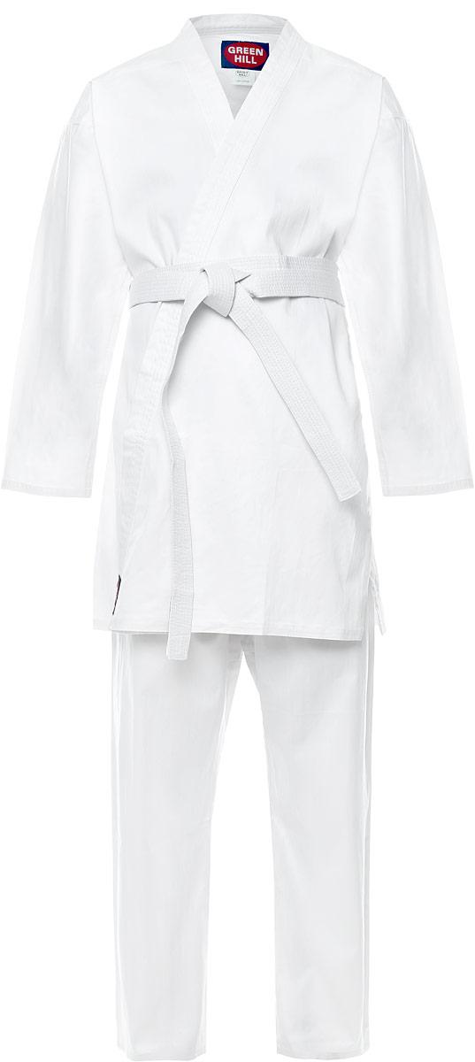 Кимоно для каратеKSC-10044Кимоно для карате Green Hill Club состоит из рубашки, брюк и пояса. Просторная рубашка с глубоким запахом, с боковыми разрезами завязывается специальными завязками. Боковые швы и края укреплены дополнительными строчками. Просторные брюки на широком поясе со шнурком для фиксации брюк на талии. Длинный плотный пояс укреплен многорядной прострочкой. Комплект изготовлен из натурального хлопка.