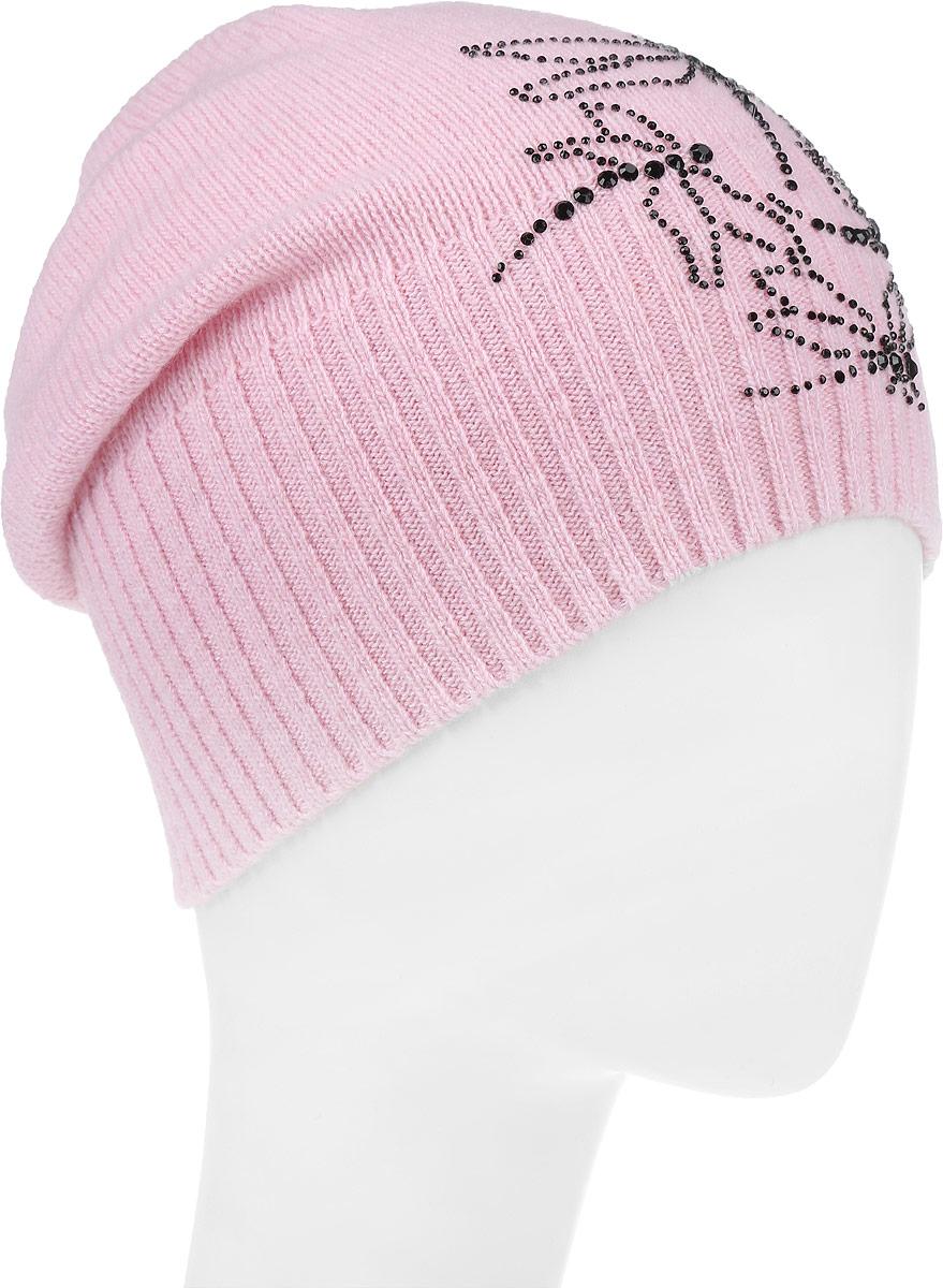 ШапкаF2261929N-39Вязаная женская шапка Vittorio Richi выполнена из шерсти с добавлением полиамида. Модель оформлена аппликацией из стразов с изображением стрекоз. Уважаемые клиенты! Размер, доступный для заказа, является обхватом головы.