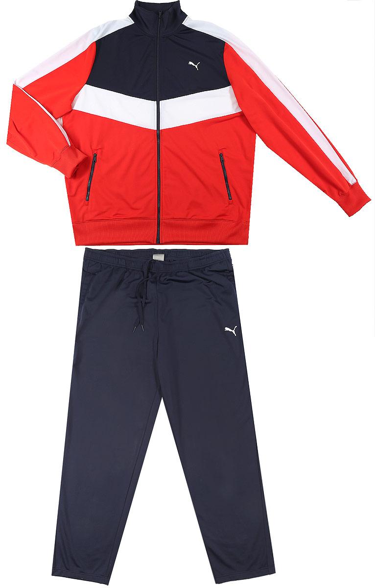 838587_01Спортивный костюм Puma Active Good Woven Suit, Op состоит из олимпийки и брюк. Костюм выполнен из 100% полиэстера. Олимпийка с воротником-стойкой и длинными рукавами застегивается на застежку-молнию. Низ рукавов и низ изделия дополнены эластичными манжетами. Спереди расположено два прорезных кармана на застежках-молниях. Брюки по талии дополнены эластичным поясом со шнурком-кулиской. В боковых швах обработаны втачные карманы. Комплект оформлен вышитым логотипом бренда.