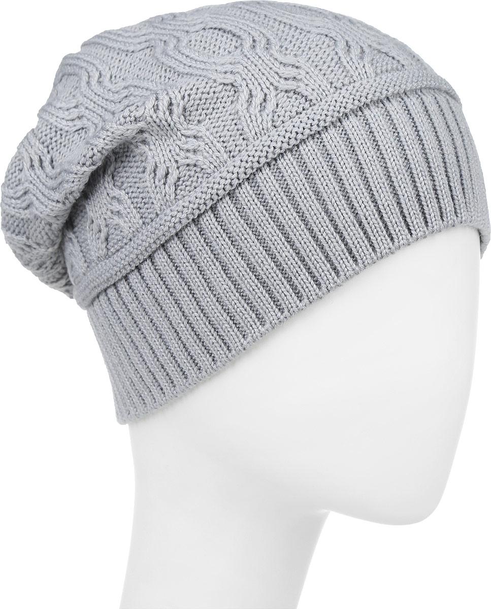 IP900152Вязаная женская шапка Vittorio Richi выполнена из шерсти с добавлением акрила. Модель оформлена вязаным узором и украшена небольшой металлической пластиной в виде сердца. Уважаемые клиенты! Размер, доступный для заказа, является обхватом головы.