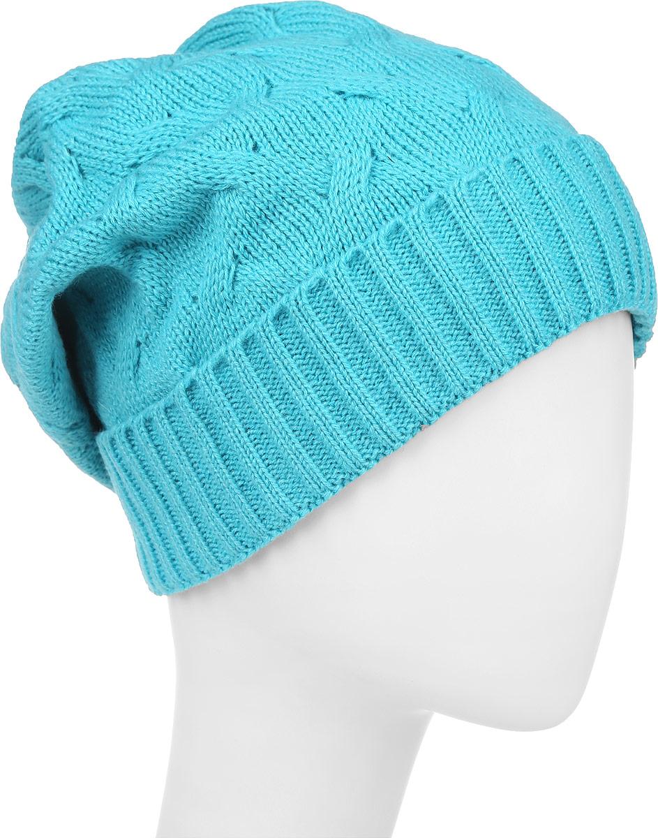 IP302082Вязаная женская шапка Vittorio Richi выполнена из шерсти с добавлением акрила. Модель с отворотом оформлена вязаным узором и украшена небольшой металлической пластиной в виде бабочки. Уважаемые клиенты! Размер, доступный для заказа, является обхватом головы.