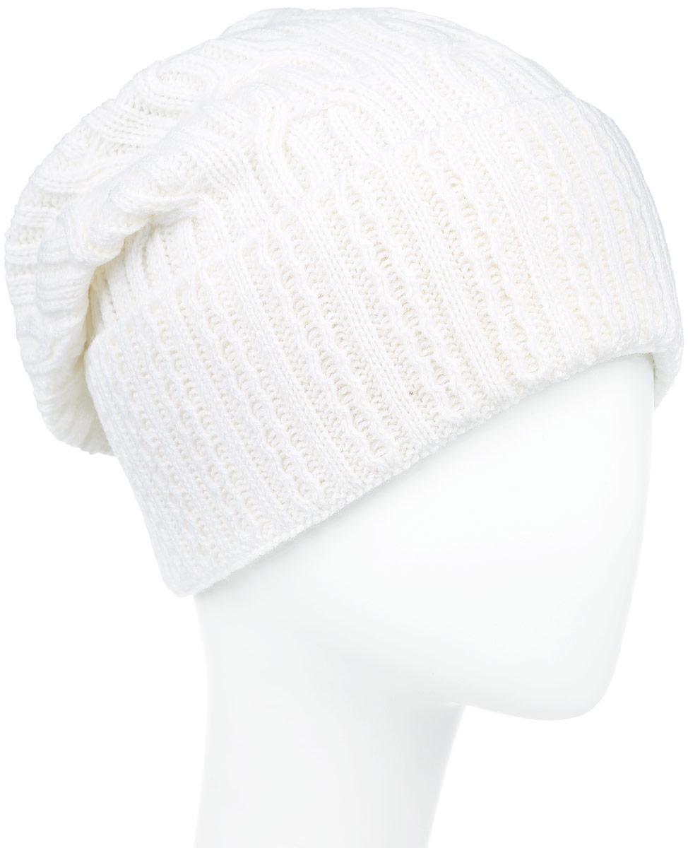 ШапкаIP900178Вязаная женская шапка Vittorio Richi выполнена из шерсти с добавлением акрила. Модель с отворотом оформлена вязаным узором и украшена небольшой металлической пластиной в виде сердца. Макушка шапки фиксируется на затылке. Уважаемые клиенты! Размер, доступный для заказа, является обхватом головы.