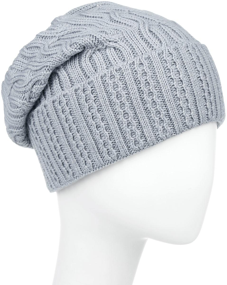 ШапкаIP900179Вязаная женская шапка Vittorio Richi выполнена из шерсти с добавлением акрила. Модель с отворотом оформлена вязаным узором и украшена небольшой металлической пластиной в виде сердца. Макушка шапки фиксируется на затылке. Уважаемые клиенты! Размер, доступный для заказа, является обхватом головы.