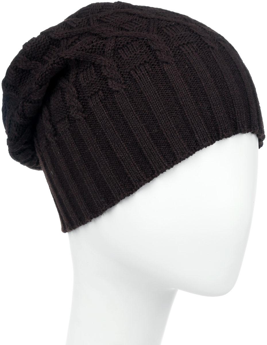 ШапкаIP301007Вязаная женская шапка Vittorio Richi выполнена из шерсти с добавлением акрила. Модель оформлена вязаным узором и украшена небольшой металлической пластиной. Уважаемые клиенты! Размер, доступный для заказа, является обхватом головы.