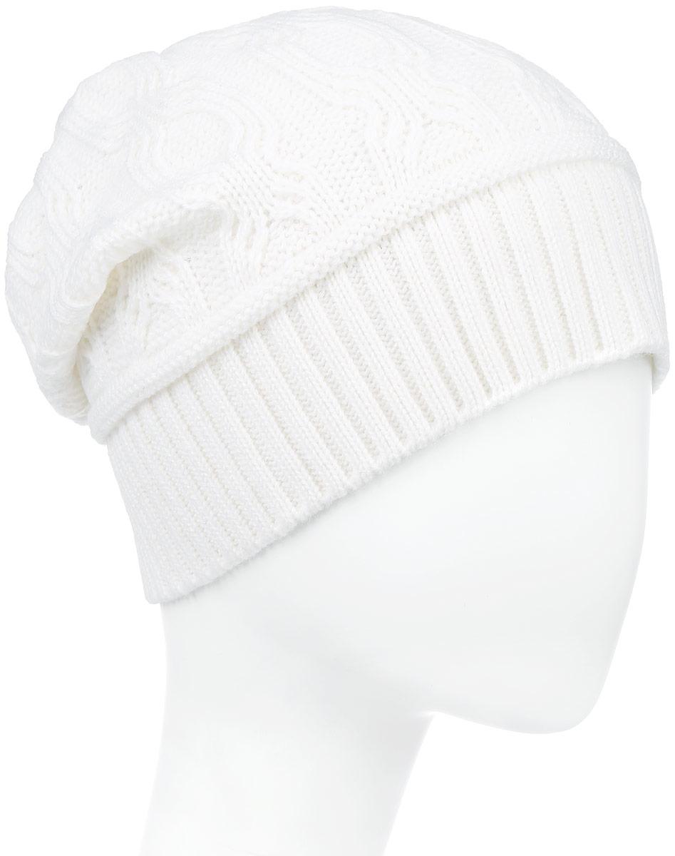 IP900145Вязаная женская шапка Vittorio Richi выполнена из шерсти с добавлением акрила. Модель оформлена вязаным узором и украшена небольшой металлической пластиной. Уважаемые клиенты! Размер, доступный для заказа, является обхватом головы.