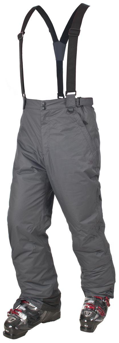 MABTSKF20001Мужские утепленные брюки для сноуборда Trespass Bezzy выполнены из плотного влагонепроницаемого армированного полиэстера с наполнителем из синтепона. Брюки застегиваются на ширинку на застежке-молнии и две пуговицы в поясе. Модель имеет широкую резинку на поясе сзади, объем талии регулируется при помощи двух хлястиков с липучками по бокам. Брюки дополнены двумя втачными карманами на застежках-молниях спереди и двумя втачными карманами на застежках-молниях сзади. Брючины оснащены вентиляционными отверстиями на застежках-молниях, дополненными сетчатыми вставками, а также внутренними противоснежными манжетами по низу. Обхват низа брючин регулируется при помощи клапана на липучке и застежки-молнии. В комплект входят съемные подтяжки, регулируемые по длине.