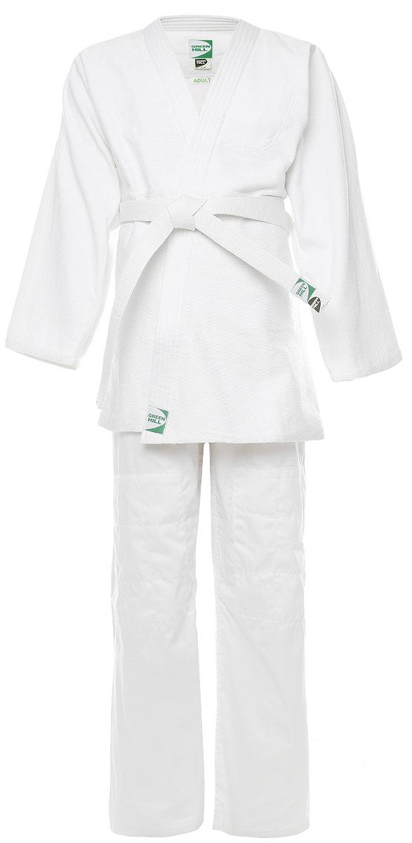 Кимоно для дзюдоJSA-10429Кимоно для дзюдо Green Hill Adult, состоящее из куртки и брюк, выполнено из натурального хлопка. Просторная куртка с глубоким запахом и рукавом 3/4 дополнена поясом на талии. Нижняя часть куртки по бокам дополнена разрезами. Просторные брюки особого кроя оснащены на поясе затягивающимся шнурком. Куртка усилена двойными швами на плечах, рукавах и груди.