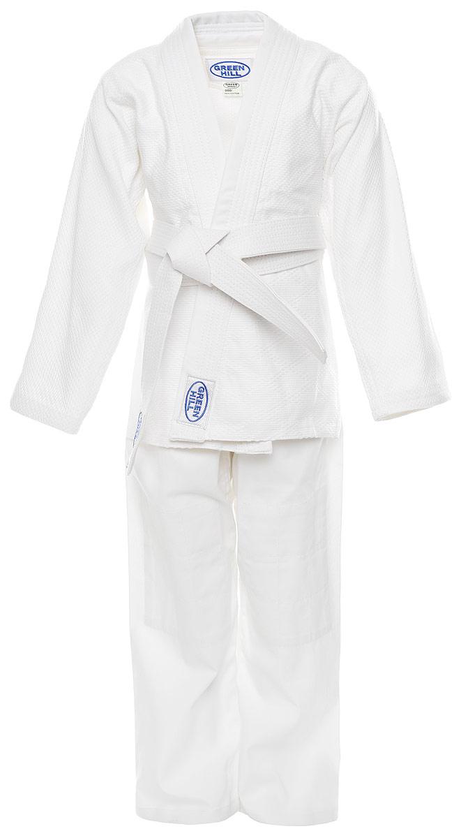Кимоно для дзюдоJSC-10204_детскоеДетское кимоно для дзюдо Green Hill Adult, состоящее из куртки и брюк, выполнено из натурального хлопка. Просторная куртка с глубоким запахом и рукавом 3/4 дополнена поясом. Нижняя часть куртки по бокам дополнена разрезами. Просторные брюки особого кроя имеют эластичный пояс. Куртка усилена двойными швами на плечах, рукавах и груди.