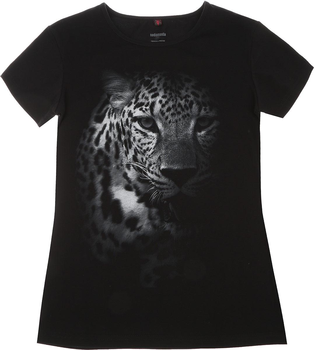01169_ЛеопардЖенская футболка Todomoda Леопард, изготовленная из эластичного хлопка, тактильно приятная и не сковывает движений. Модель с круглым вырезом горловины и короткими рукавами оформлена спереди изображением леопарда. Прекрасный подарок для себя и для подруги.