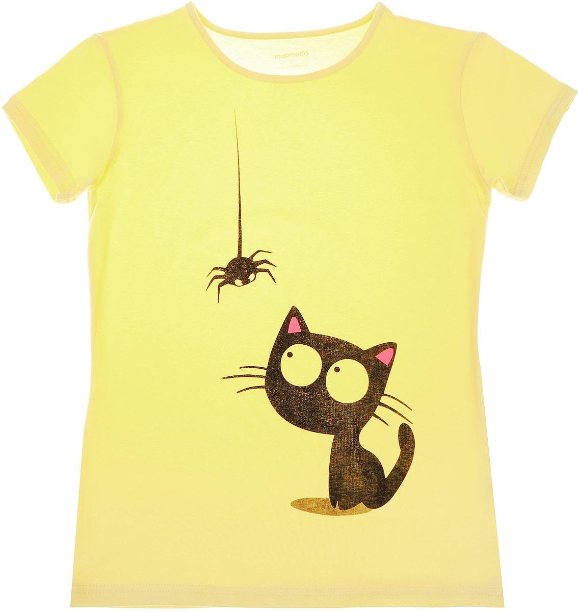 Футболка02100_Кошка и паукЖенская футболка Todomoda Кошка и паук, изготовленная из хлопка с добавлением лайкры, тактильно приятная и не сковывает движений. Модель с круглым вырезом горловины и короткими рукавами оформлена спереди изображением кошки с пауком. Прекрасный подарок для себя и для подруги.