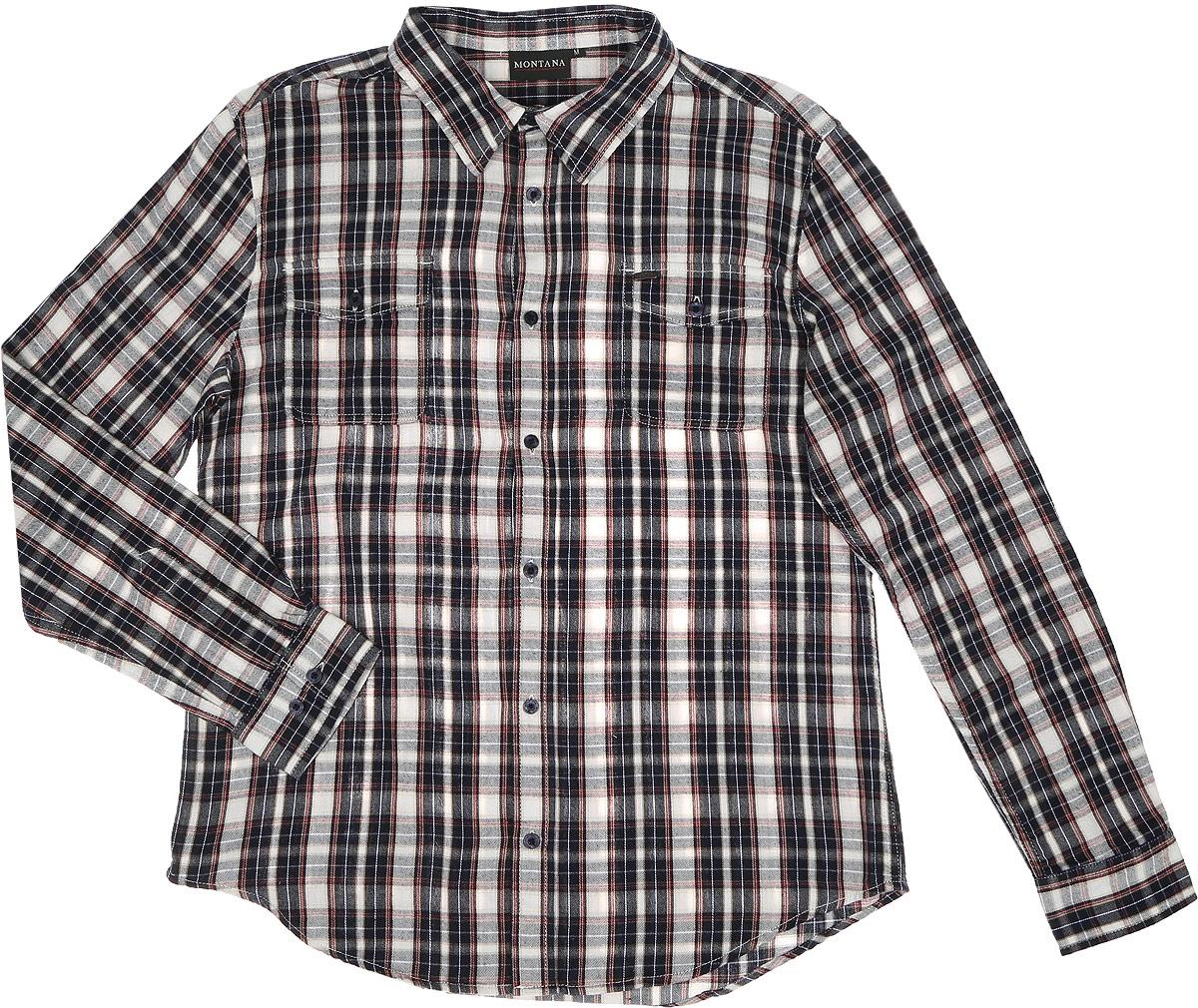 11058_CHECKСтильная мужская рубашка Montana, выполненная из натурального хлопка, позволяет коже дышать, тем самым обеспечивая наибольший комфорт при носке. Модель классического кроя с отложным воротником и длинными рукавами застегивается на пуговицы по всей длине. Манжеты рукавов дополнены застежками-пуговицами. Модель дополнена на груди двумя накладными карманами с клапанами на пуговицах.