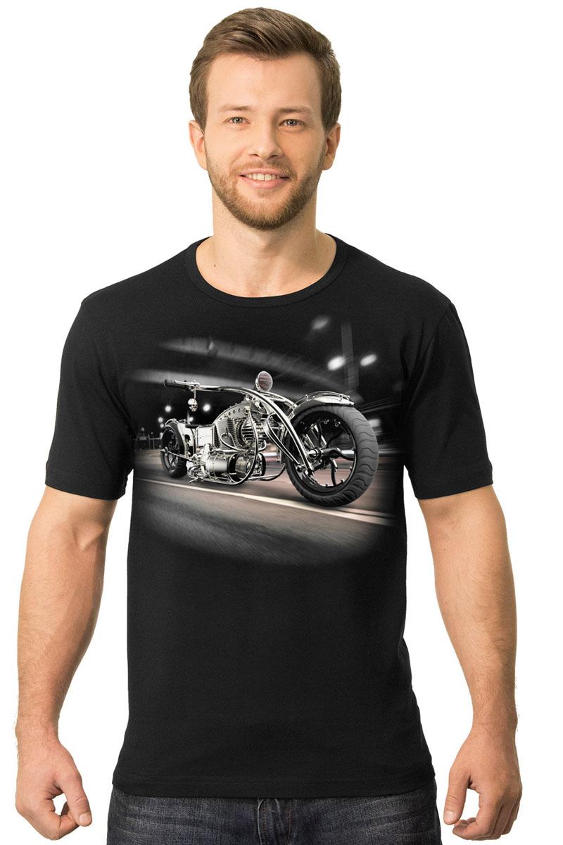 2-1Мужская футболка MF Байк и мост с короткими рукавами и круглым вырезом горловины выполнена из хлопка натурального хлопка. Оформлена модель оригинальным принтом.