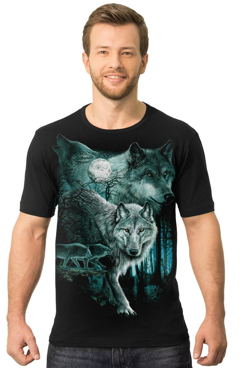 Футболка2-6Мужская футболка MF Волк бирюза с короткими рукавами и круглым вырезом горловины выполнена из натурального хлопка. Модель оформлена оригинальным принтом в виде волков.