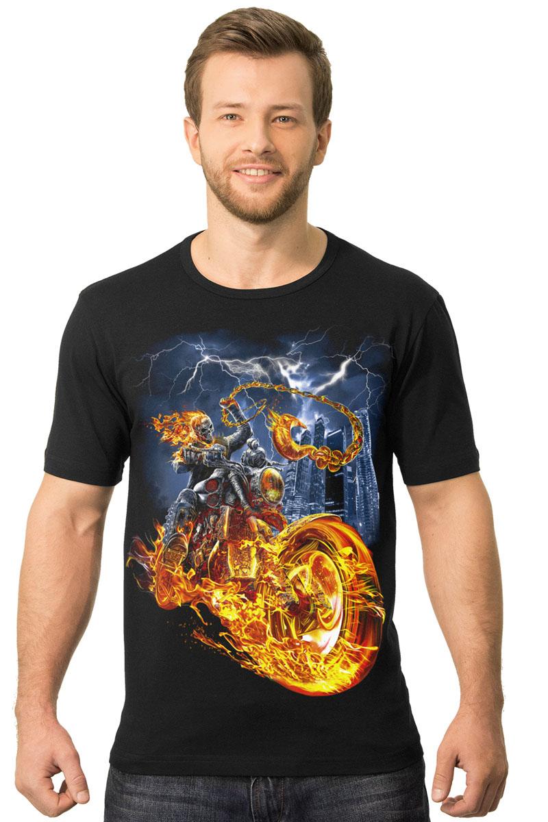 Футболка2-18Мужская футболка MF Огненный байкер с короткими рукавами и круглым вырезом горловины выполнена из натурального хлопка. Оформлена модель оригинальным принтом.