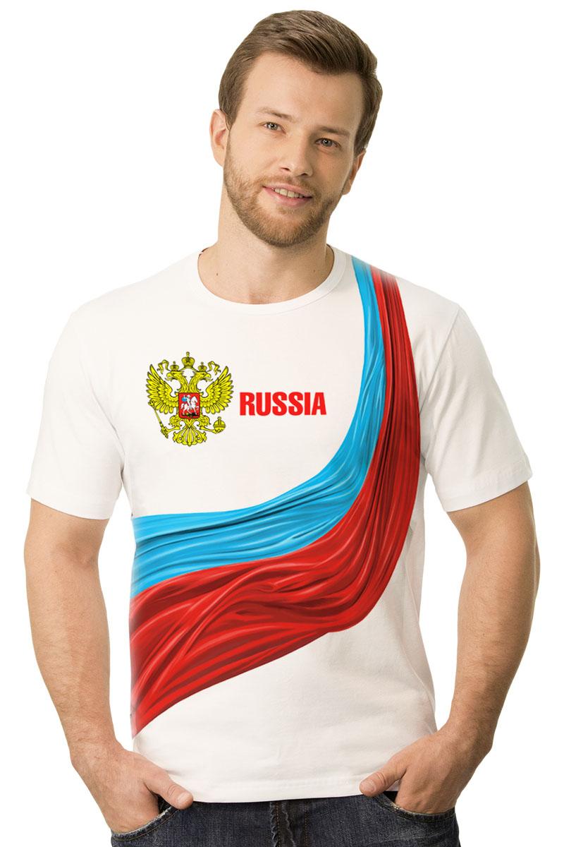 2-21Мужская футболка MF Россия триколор с коротким рукавом и круглым вырезом горловины выполнена из натурального хлопка. Оформлена модель оригинальным принтом.