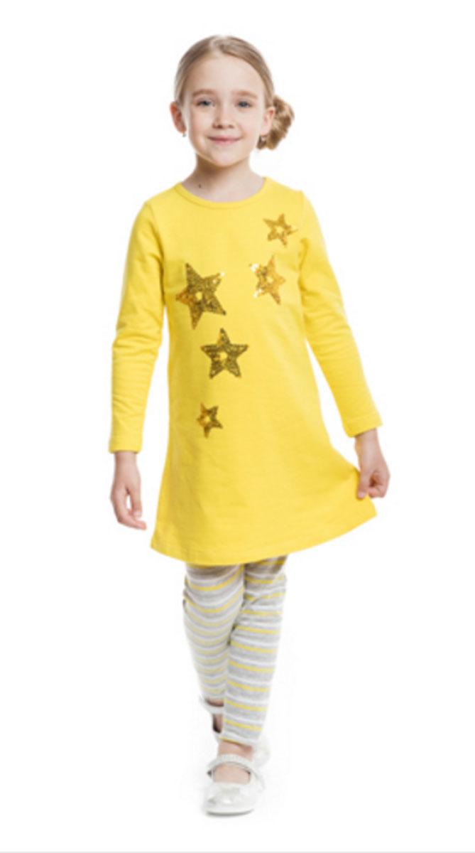 Платье362178Яркое хлопковое платье с длинными рукавами. Украшено звездочками из сверкающих страз. Застегивается на кнопки на спинке.