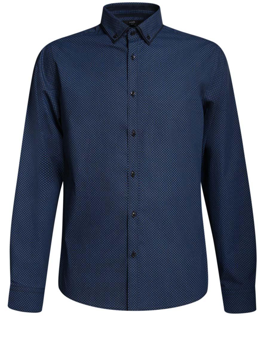 3L110225M/19370N/7975GСтильная мужская рубашка oodji выполнена из натурального хлопка. Модель с отложным воротником и длинными рукавами застегивается на пуговицы спереди. Манжеты рукавов дополнены застежками-пуговицами. Оформлена рубашка оригинальным узорчатым принтом.