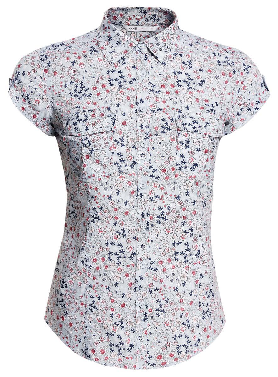 Рубашка11402084-3/12836/7010FСтильная женская рубашка oodji Ultra выполнена из натурального хлопка. Модель с отложным воротником и короткими рукавами застегивается на пуговицы. На груди рубашка дополнена двумя накладными карманами с клапанами на пуговицах. Оформлено изделие оригинальным принтом.