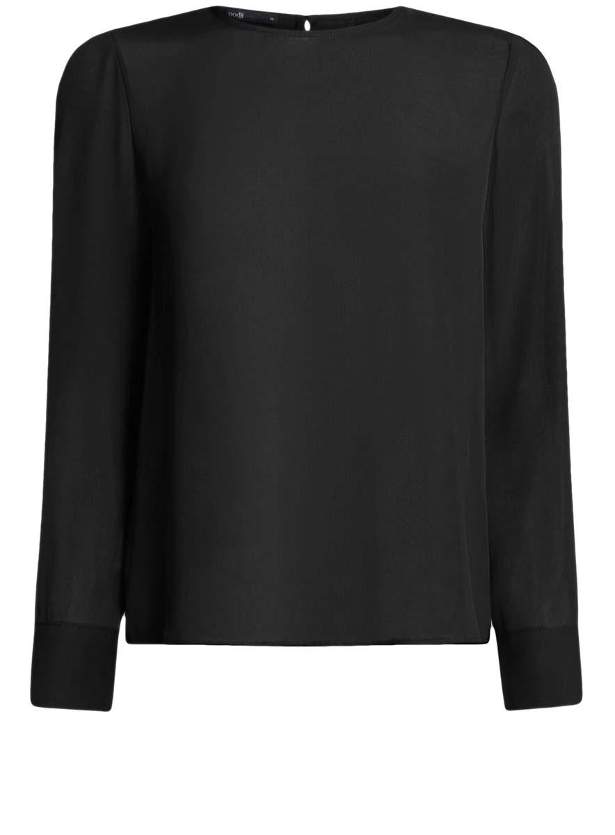 Блузка11411129/45192/4500NБлузка oodji Ultra полностью выполнена из полиэстера. Модель свободного силуэта с вырезом-капелькой на спине, круглым вырезом горловины и длинными рукавами. Рукава дополнены манжетами с пуговицами.