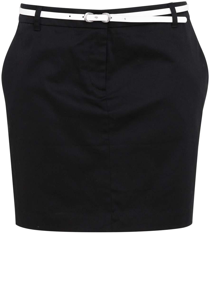 Юбка11600397/14522/2900NСтильная юбка oodji Ultra выполнена из качественного хлопка с добавлением эластана. В качестве материала подкладки используется полиэстер. Модель-мини застегивается в поясе на крючок, потайную пуговицу и ширинку с застежкой-молнией, также в поясе изделие имеет шлевки для ремня и узенький ремешок. По бокам юбка оформлена втачными карманами, а сзади имитацией прорезных карманов и шлицей.