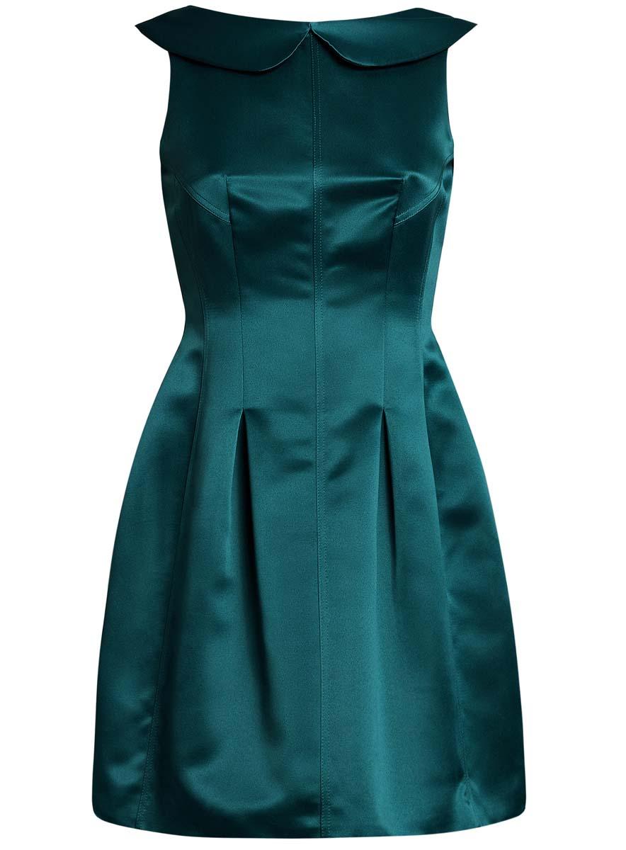 Платье11902149/24393/2900NПлатье oodji Ultra без рукавов исполнено из атласной ткани. Имеет вырез на спинке, отложной воротничок, юбку-тюльпан. Изделие плотно садится по фигуре. Застегивается сзади на молнию.