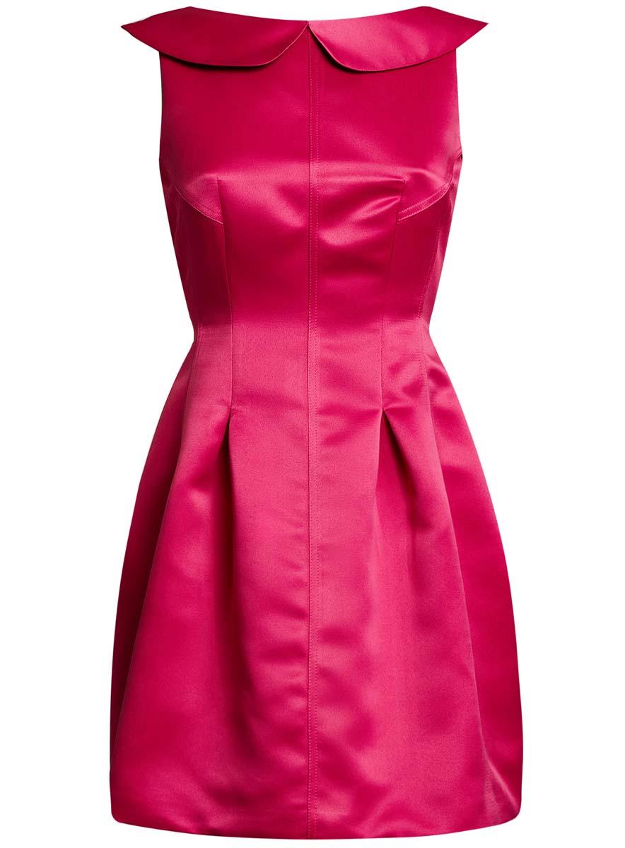 11902149/24393/2900NПлатье oodji Ultra без рукавов исполнено из атласной ткани. Имеет вырез на спинке, отложной воротничок, юбку-тюльпан. Изделие плотно садится по фигуре. Застегивается сзади на молнию.