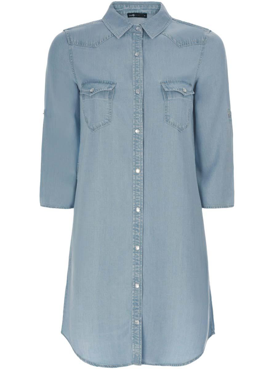 Платье12909042/45372/7000WПлатье-рубашка oodji Ultra выполнено из качественного материала, мягкого и приятного на ощупь. Модель с отложным воротником и рукавами 3/4 застегивается на кнопки по всей длине. На поясе есть шлевки для ремня. Манжеты рукавов оснащены застежками-кнопками, а также их можно сделать покороче с помощью внутреннего хлястика на кнопке. Передняя часть дополнена двумя накладными карманами с кнопками на груди и двумя втачными карманами по бокам.