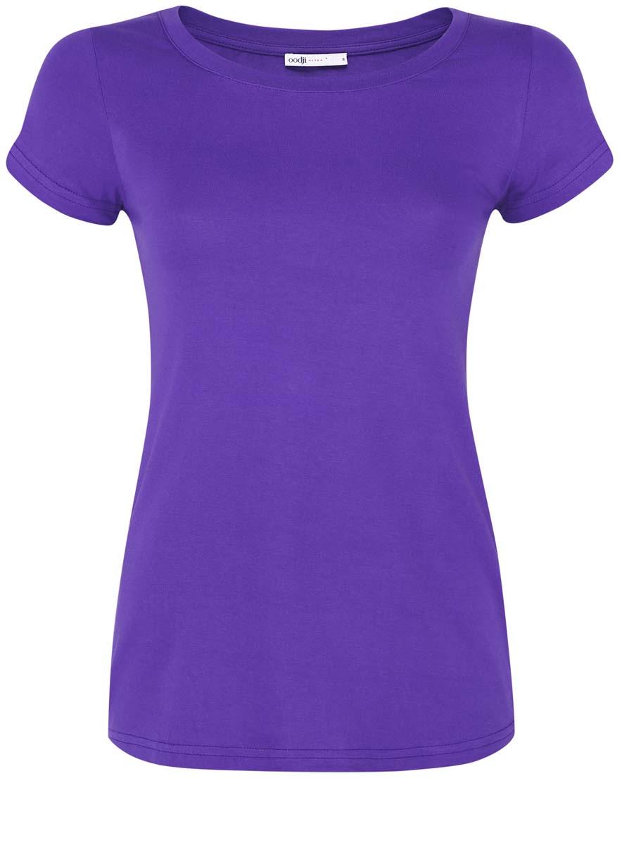 14701008B/46154/7001NМодная женская футболка oodji Ultra изготовлена из натурального хлопка. Модель с круглым вырезом горловины и короткими рукавами выполнена в лаконичном дизайне.