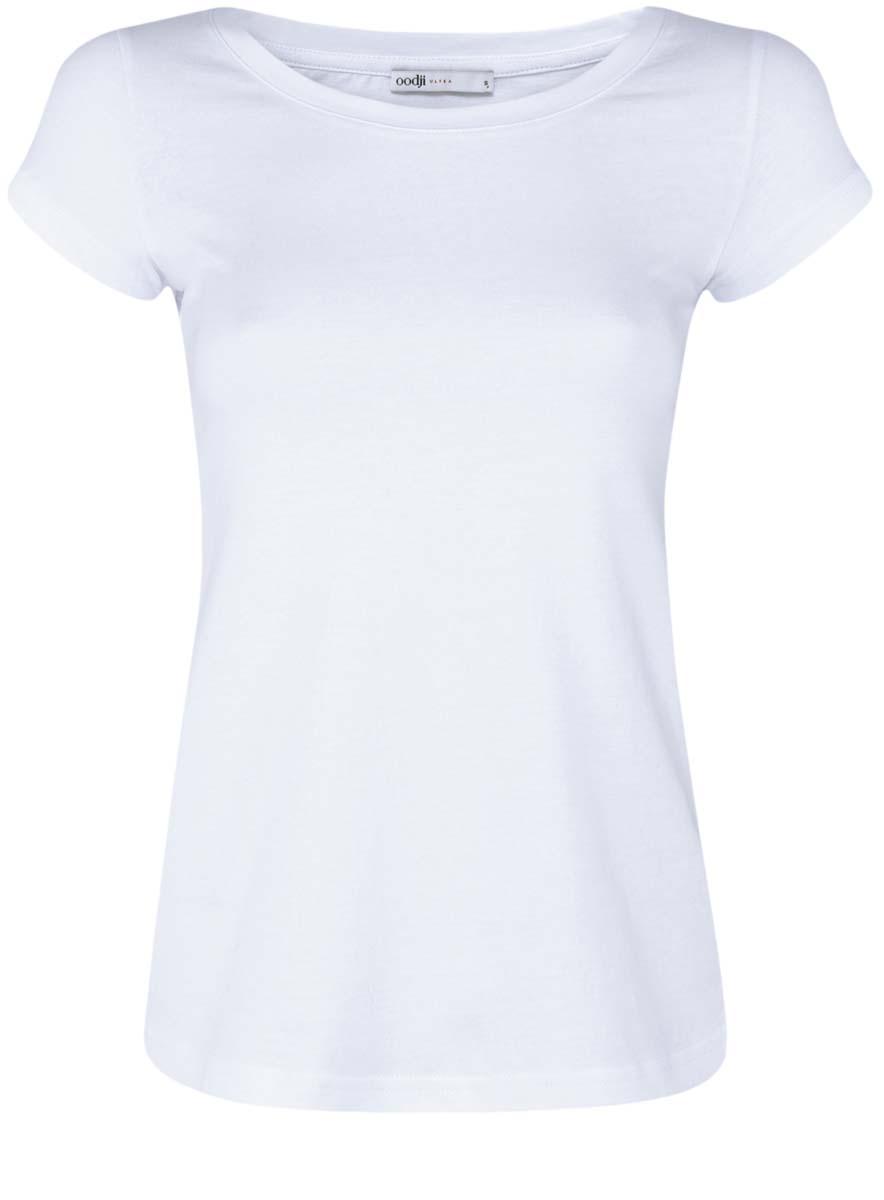 14701008T3/46154/1000NЖенская футболка oodji Ultra изготовлена из высококачественного натурального хлопка. Модель с короткими рукавами и круглым вырезом горловины имеет однотонную расцветку.