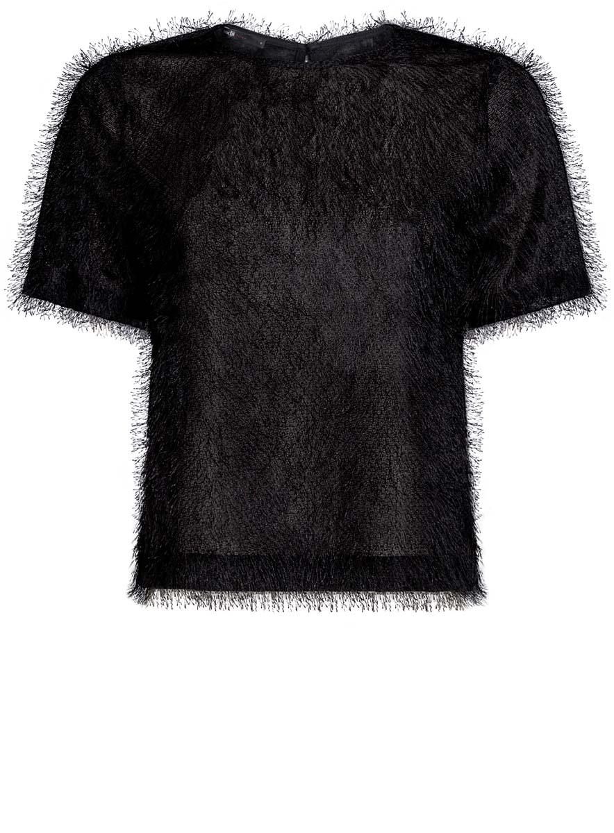 Блузка14701049/46105/2900NЖенская блузка oodji Ultra исполнена из легкой ткани с ворсинками. Изделие имеет короткие рукава, вырез-капельку на спине и застегивается сзади на пуговицу.