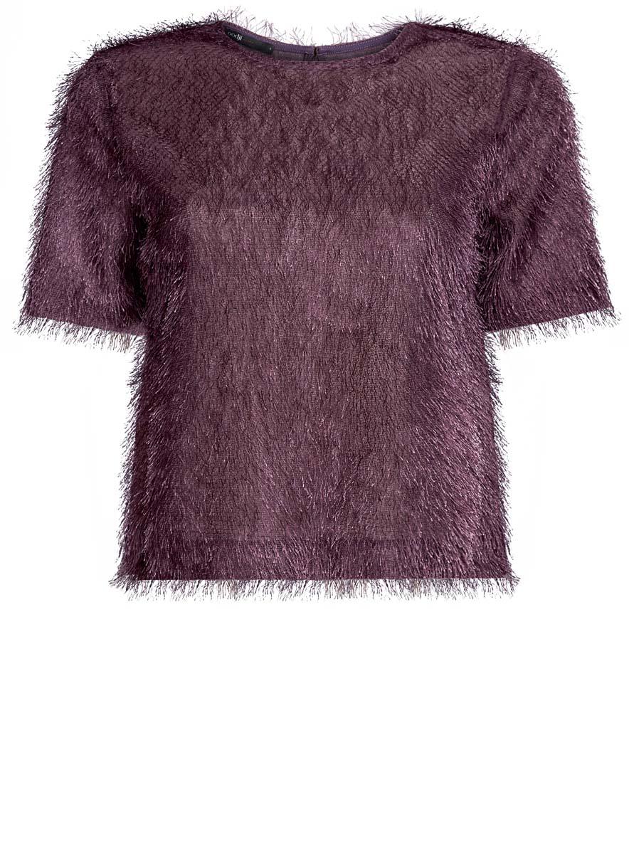 14701049/46105/2900NЖенская блузка oodji Ultra исполнена из легкой ткани с ворсинками. Изделие имеет короткие рукава, вырез-капельку на спине и застегивается сзади на пуговицу.