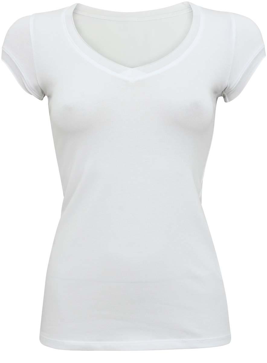 Футболка14711002B/45310/4500NМодная женская футболка oodji Ultra изготовлена из эластичного хлопка. Модель с V-образным вырезом горловины и короткими рукавами выполнена в лаконичном дизайне. Вырез горловины и края рукавов выполнены с эффектом необработанного края.
